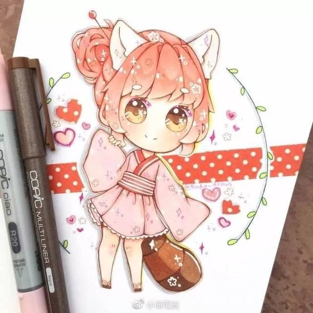 手帐丨马克笔手绘简笔画少女,太可爱啦!