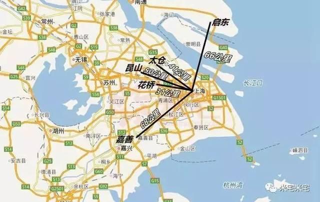 以上海人民广场为中心,我们测量了上海市中心到环沪四镇的直线距离