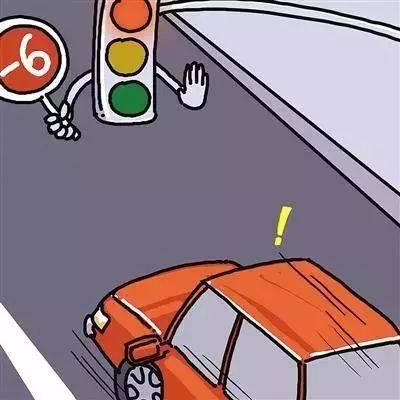 等红灯的时候发现你自己的车道面前已经有一台车停在那儿了,而旁边的图片