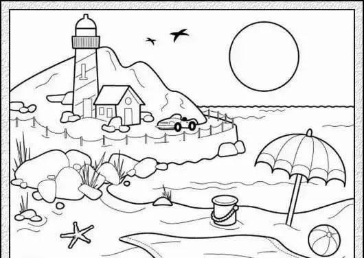 一些风景画的简笔画素材,包含海边,城市,游乐园的场景.