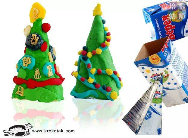 我的圣诞树  材料:牛奶盒,橡皮泥 把牛奶盒四面剪开,剪成等腰三角形后