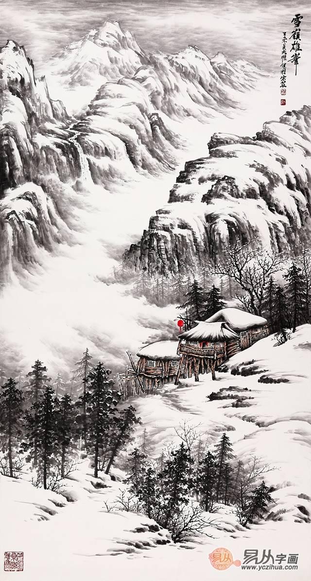 雪景国画 吴大恺最新力作山水画《雪岭雄风》作品出自:易从网图片