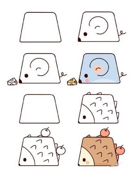 敲可愛!梯形小動物簡筆畫圖片