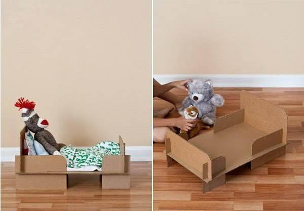 瓦楞纸手工制作步骤diy 芭比娃娃纸壳婴儿床