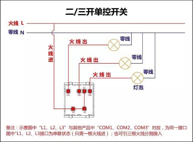 二三开单控开关接线图
