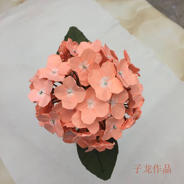 绣球花折纸,不是皱纹纸,也不是纸藤,就是普通的a4纸,不过绿叶是加厚的