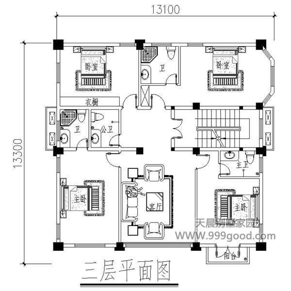 11米x9米自建房屋设计图