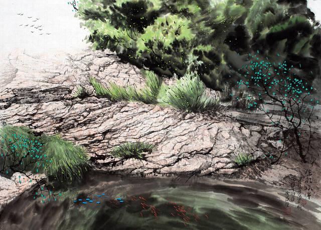 山水画家刘燕声独具特征的现代山水画作品图片