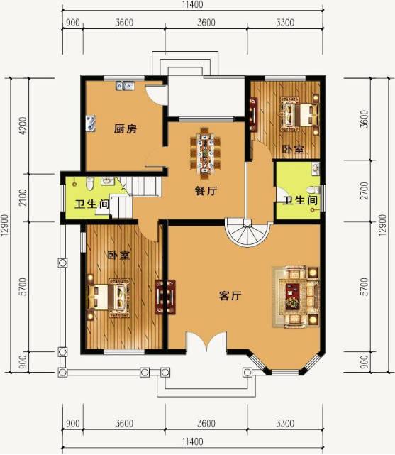 这是一楼的设计图,卧室餐厅客厅都设计的很大,方便居住,空间充足.