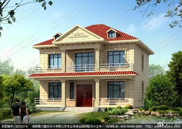 2018年新款二层带阳台农村小别墅设计效果图图片