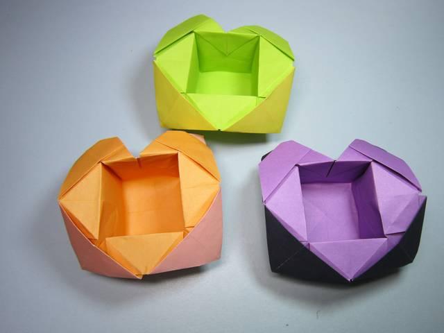儿童手工折纸心形盒子,简单的爱心收纳盒折法,diy手工