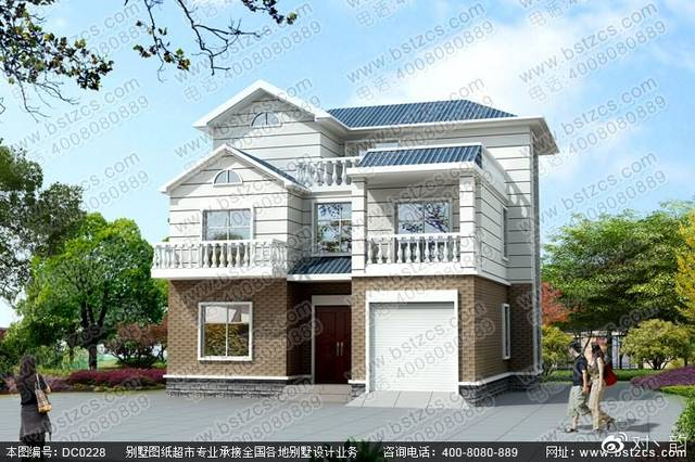 本款图纸为自建房设计_新农村二层半带车库自建别墅效果图.