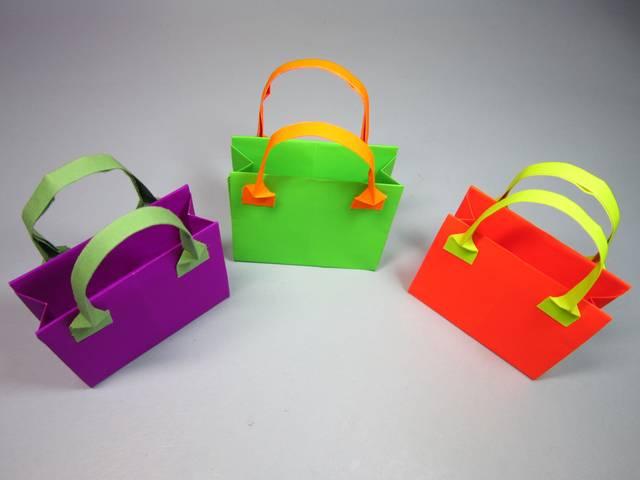 如何折纸包包,简单的手提包折纸教程,diy手工制作图片