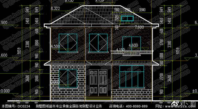 10米×8米农村二层小别墅设计效果图图片