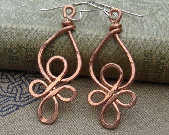 铁艺耳环 铜丝制作的手镯子!真的简约又时尚!