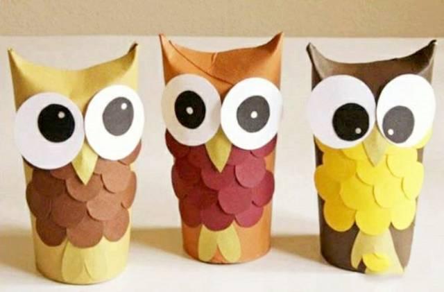 幼儿园手工—— 用卫生纸卷筒或纸巾筒做可爱小小猫头鹰