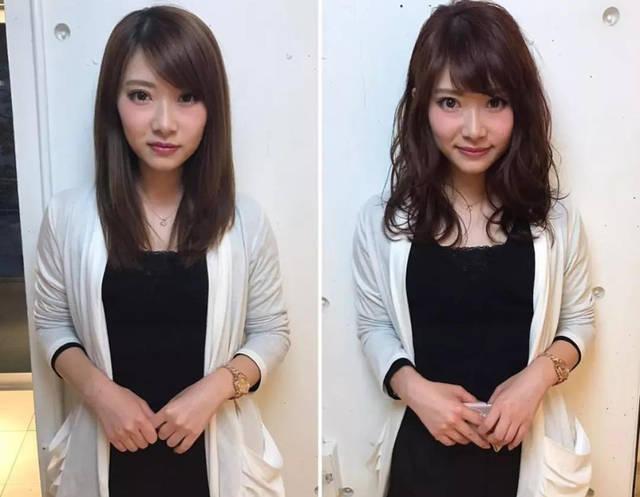 直发换成空气感卷发原来这么美,换发型前后图片对比一
