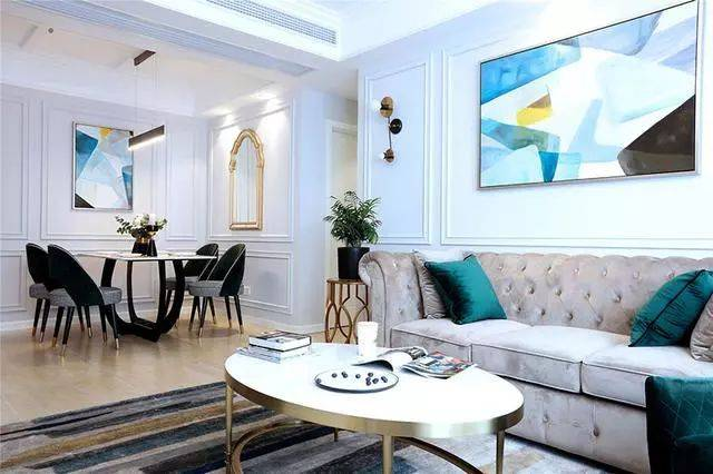 123㎡小轻奢美式装修,客厅超好看,甩邻居家几条街!图片