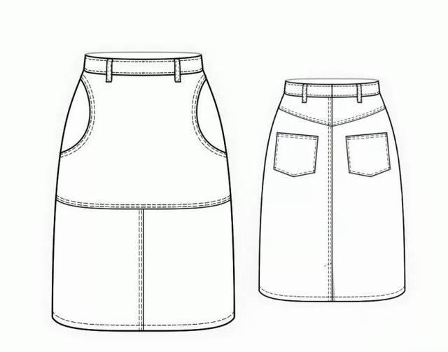 10款时尚半身裙的效果图 款式图 制版图图片
