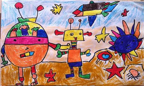 幼儿园美术绘画作业,每个孩子心里都住着一个毕加索