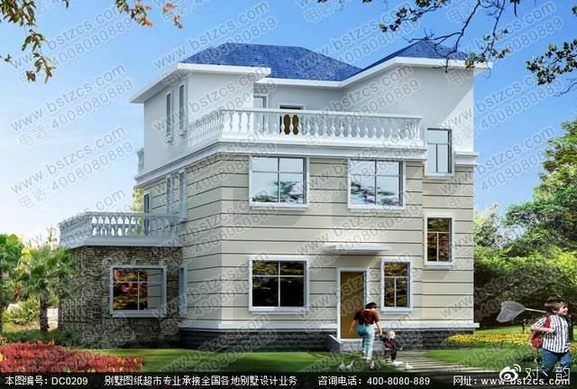 农村三层带露台自建房屋设计效果图图片