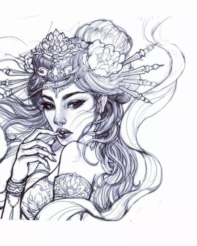 艺妓纹身手绘平面图