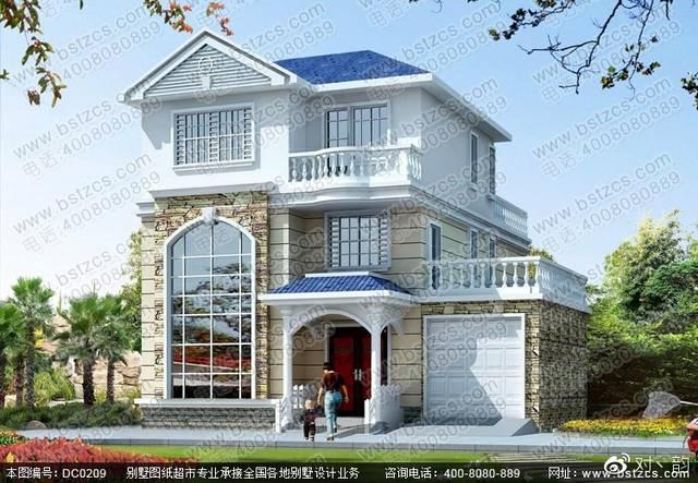 本款图纸为农村三层带露台自建房屋设计效果图.