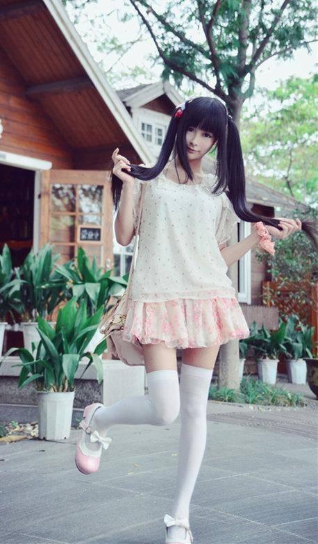 青春美少女 二次元 cosplay 可爱白丝双马尾小萝莉