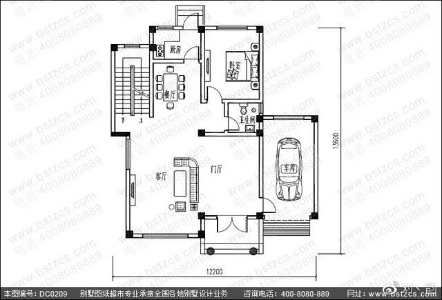 农村三层带露台自建房屋首层户型设计图图片