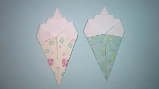 儿童手工折纸冰淇淋,2分钟学会冰淇淋的折法视频