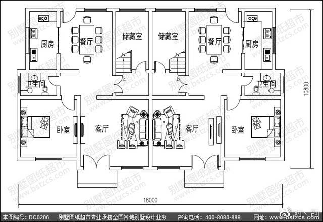 双拼别墅设计_农村二层半双拼自建房首层户型设计图
