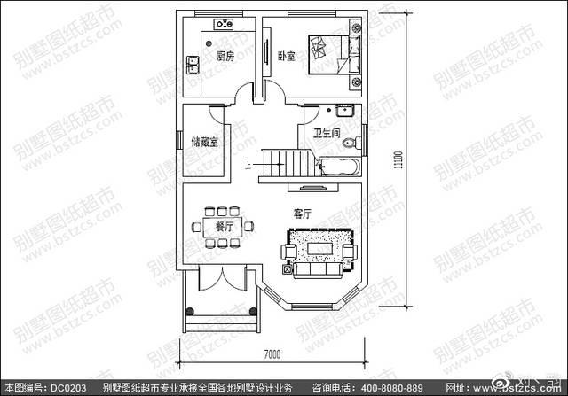 7米×11.1米小面积三层别墅/自建房首层户型设计图