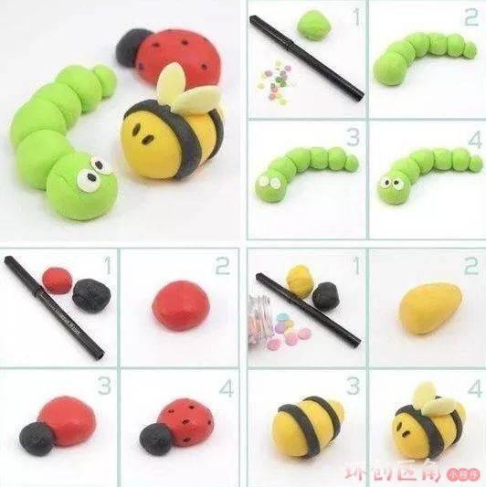 准备材料:粘土,粘土工具,模具等 做法:制作小昆虫的方法与做小动物一