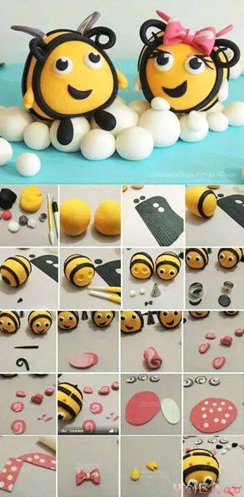蜜蜂黏土手工制作图片