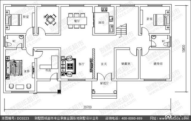 20.7米×10.8米二层带阁楼大面积别墅设计效果图图片