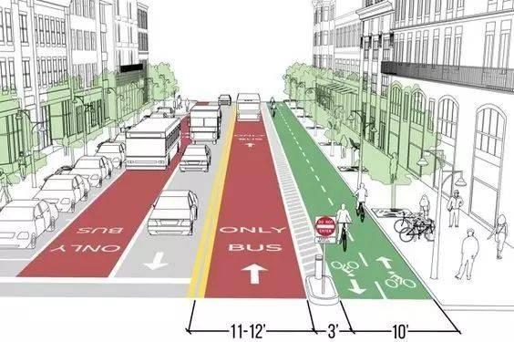 公交车道,双向车道,停车位和自行车道
