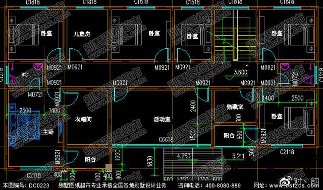 20.7米×10.8米二层带阁楼大面积别墅设计效果图