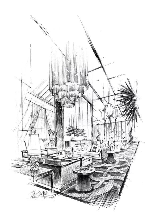 以上手绘作品不只是效果图表现 是连柏慧老师的方案手绘 中国室内