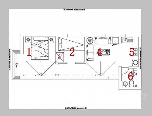 cad家装吧�9l.�k_由于我不是学工程的,也不会画cad图,将就着看吧.红色的箭头表示方向.