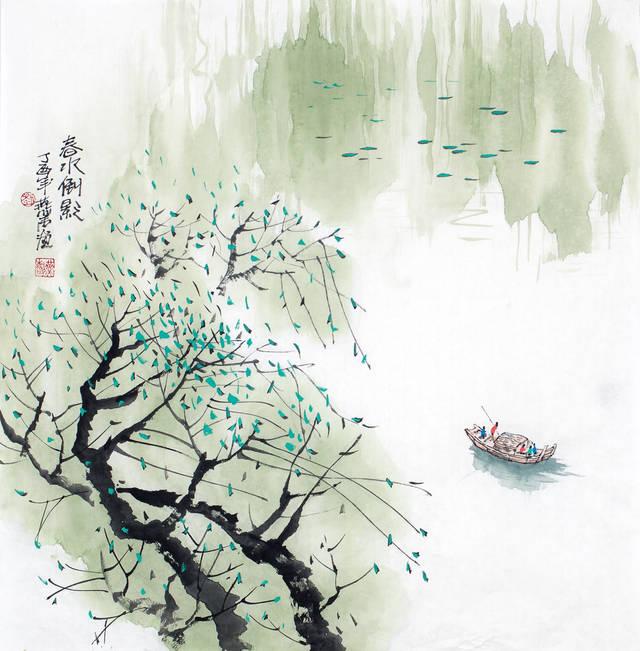 (现代山水画作品《春水倒影》-68x68-刘燕声)图片