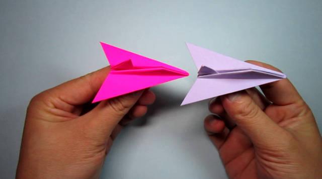 纸艺手工战斗机的折法,纸飞机折纸,简单易学2分钟完成