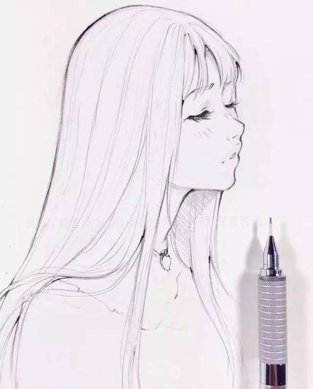 来一波自动铅笔手绘漂亮的小姐姐,只是线稿已经这么漂亮了!