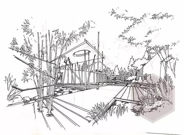 景观手绘效果图的方法,人视角效果图目前越来越多的在园林考试中出现