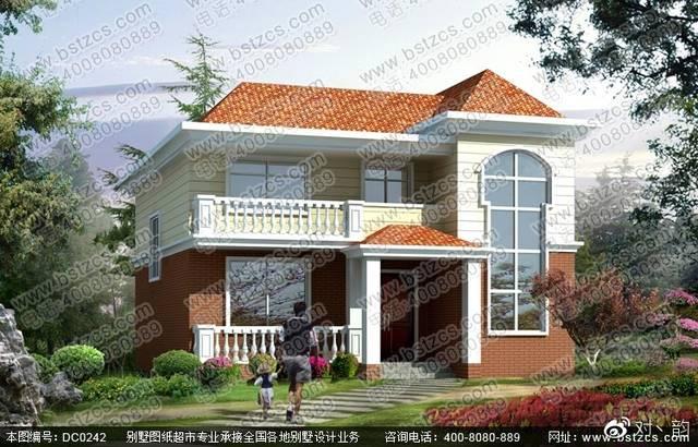 本款图纸为新农村二层带阳台小别墅设计效果图.