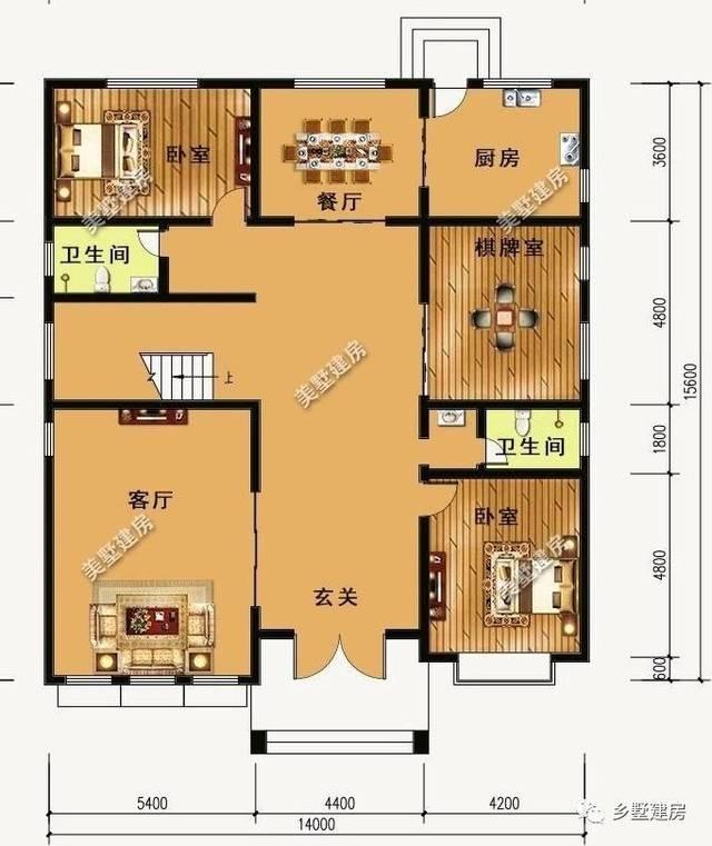 一层平面图:设有玄关,客厅,厨房,餐厅,2卧室,棋牌室,卫生间.