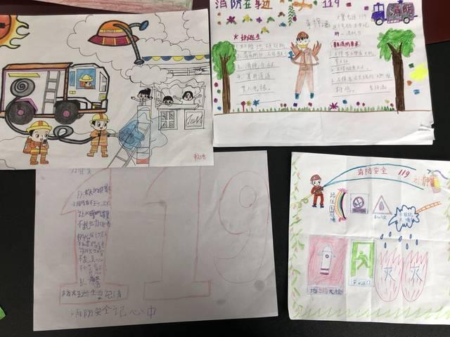 """""""小朋友们在手抄报上写下了自己对消防安全的心得,防火安全知识和逃生"""