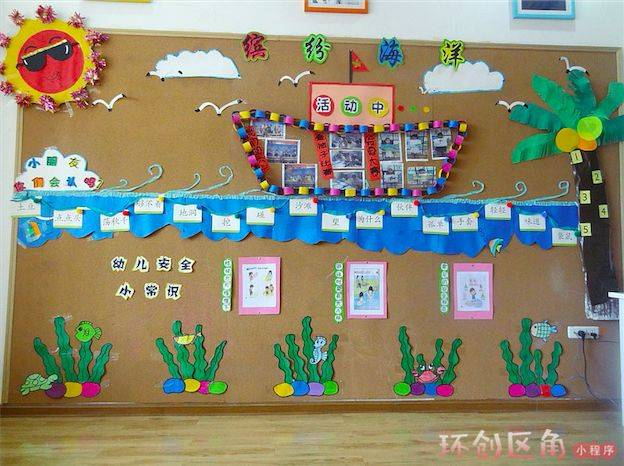 夏季当然少不了手工制作啦,用孩子们的有趣夏季作品做一面主题墙吧!