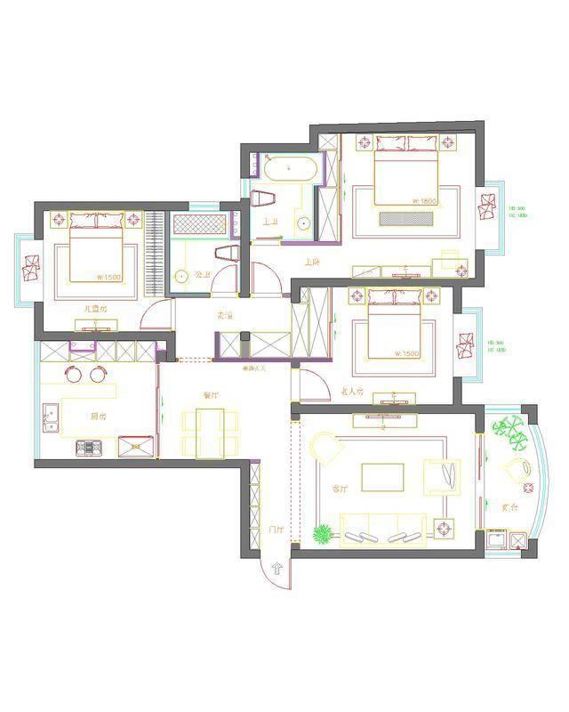 以下就是本套荣信虹桥世嘉小区120平米三居室房子的户型图.