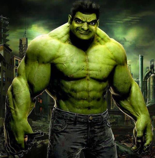 绿巨人换上憨豆的表情图片