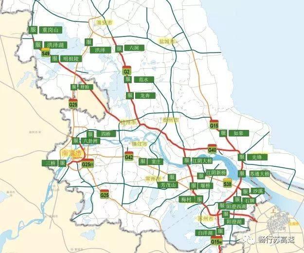 由南往北方向:g2京沪高速淮安段,扬州段,广靖锡澄段;g15沈海高速南通